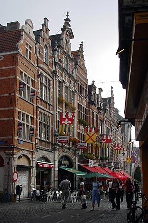 Going towards the Oude Markt from the Grote Market (Big Square) in Leuven