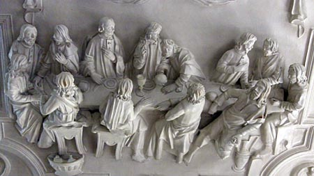Stucco representing The Last Supper, on the ceiling of the refectory at Park Abbey.