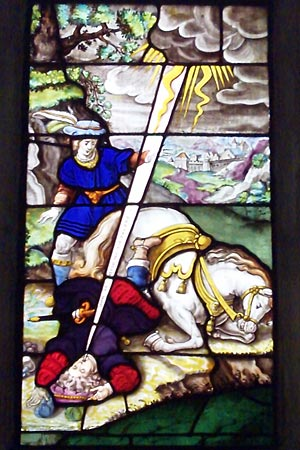 Stained glass, in the cloister at Park Abbey. The moment is depicted when Norbert is converted.