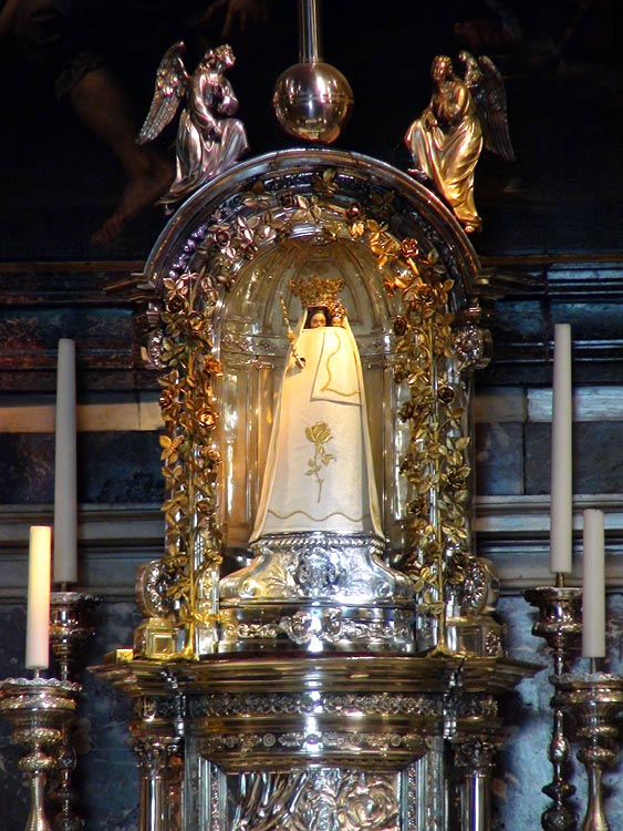 Statue of the Virgin Mary behind the altar of the Basilica